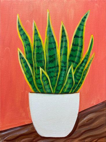 Snake Plant Acrylic Painting