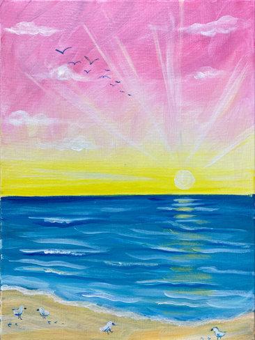 Sunshine Shore Acrylic Paint Sesh Painting