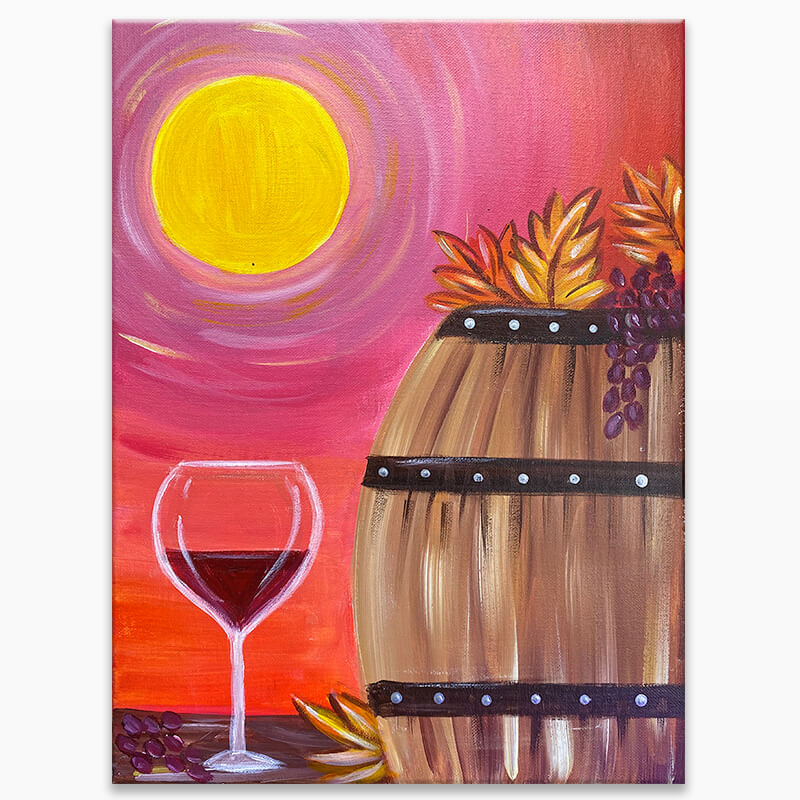 Autumn Wine Barrel Virtual Painting Class