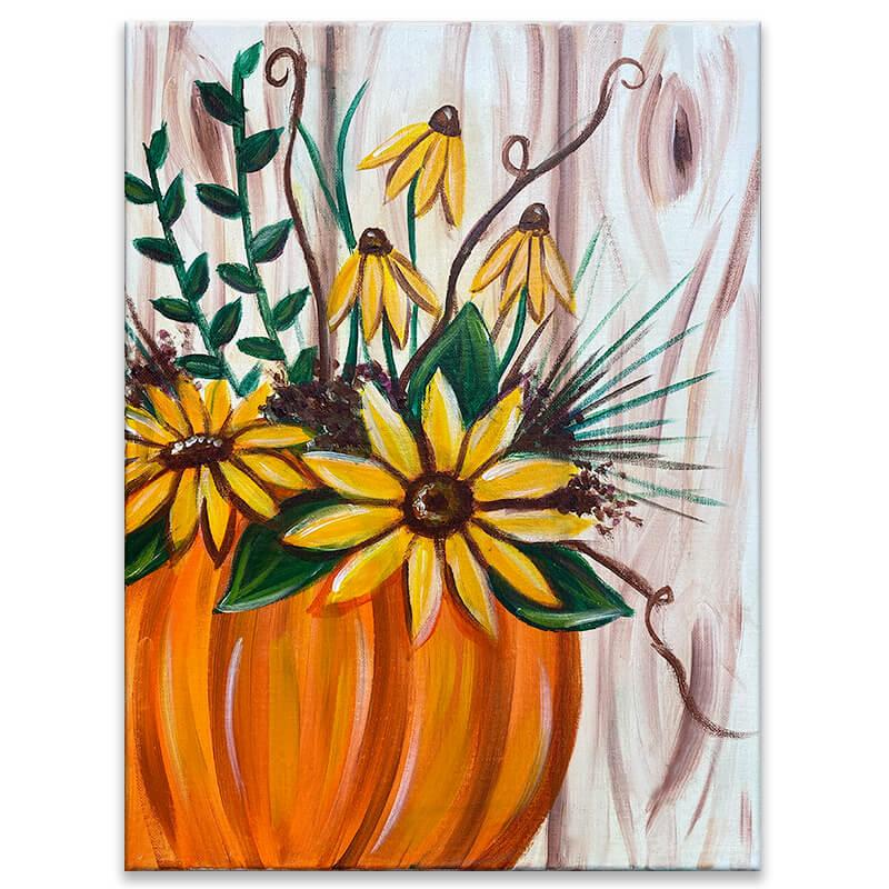 Pumpkin Blooms Acrylic Painting Class