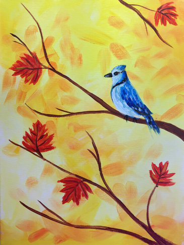 Fall Blue Jay Painting Class