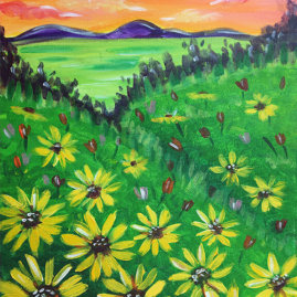 Sunflower Fields Virtual Painting Class