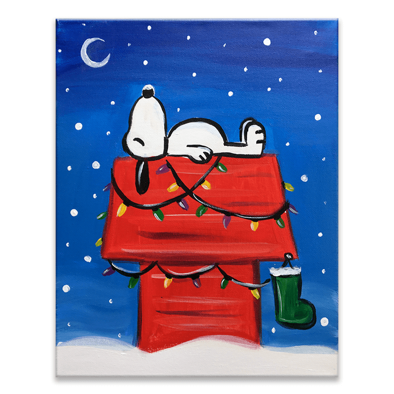 A Snoopy Christmas Holiday Virtual Painting Class