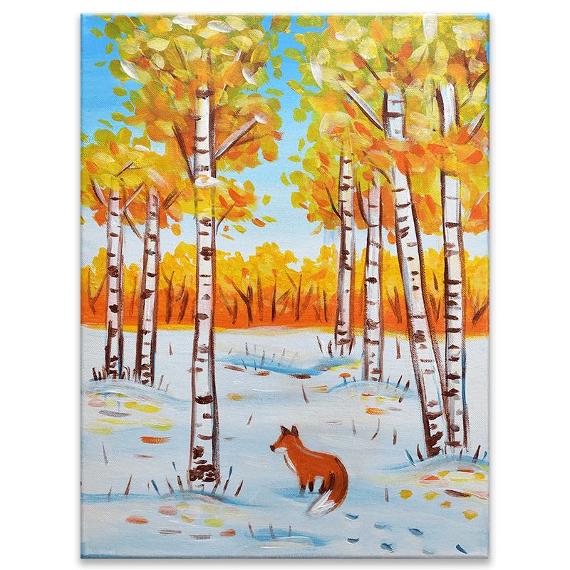Winter Birch Trees Virtual Painting Class