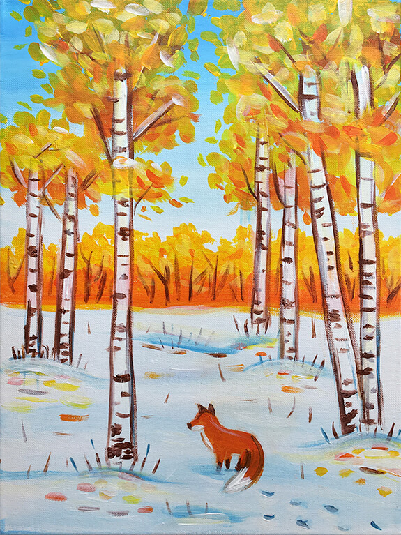 Winter Birch Trees Painting Party