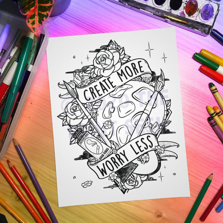 Create More Worry Less Printable Coloring Page