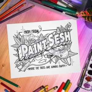 High from The Paint Sesh Printable Coloring Page
