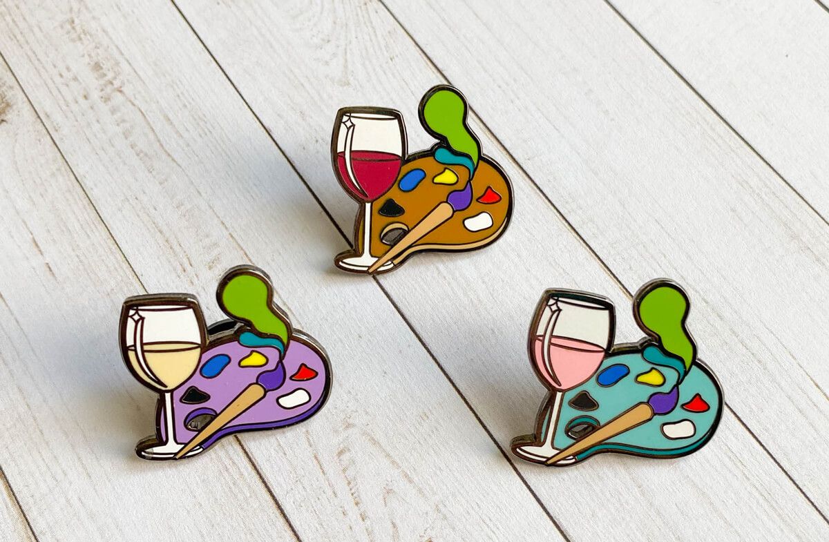 Paint and Sip Pin: Creative Wine Lover Gift