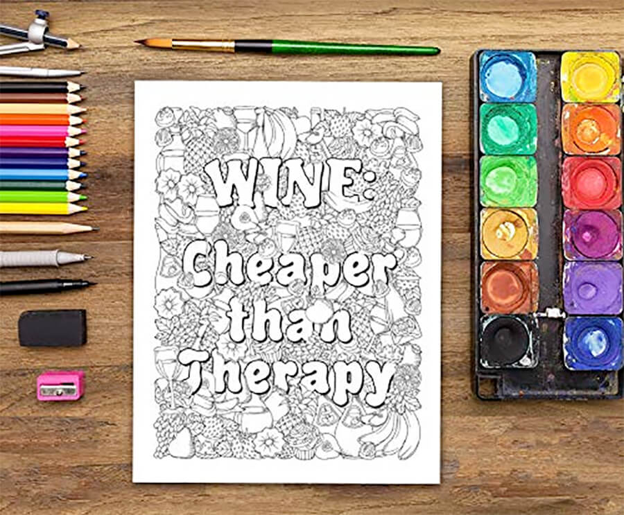Adult Coloring Book: Creative Wine Gifts