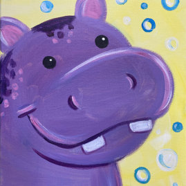 Happy Happy Hippo Acrylic Painting Party by The Paint Sesh