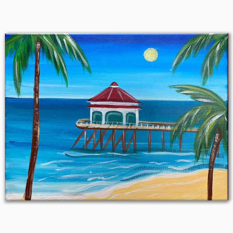 Huntington Beach Pier Virtual Painting Class