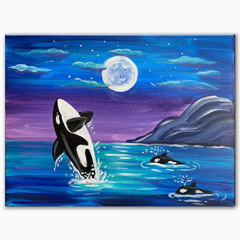 Orca Sea Acrylic Painting Class