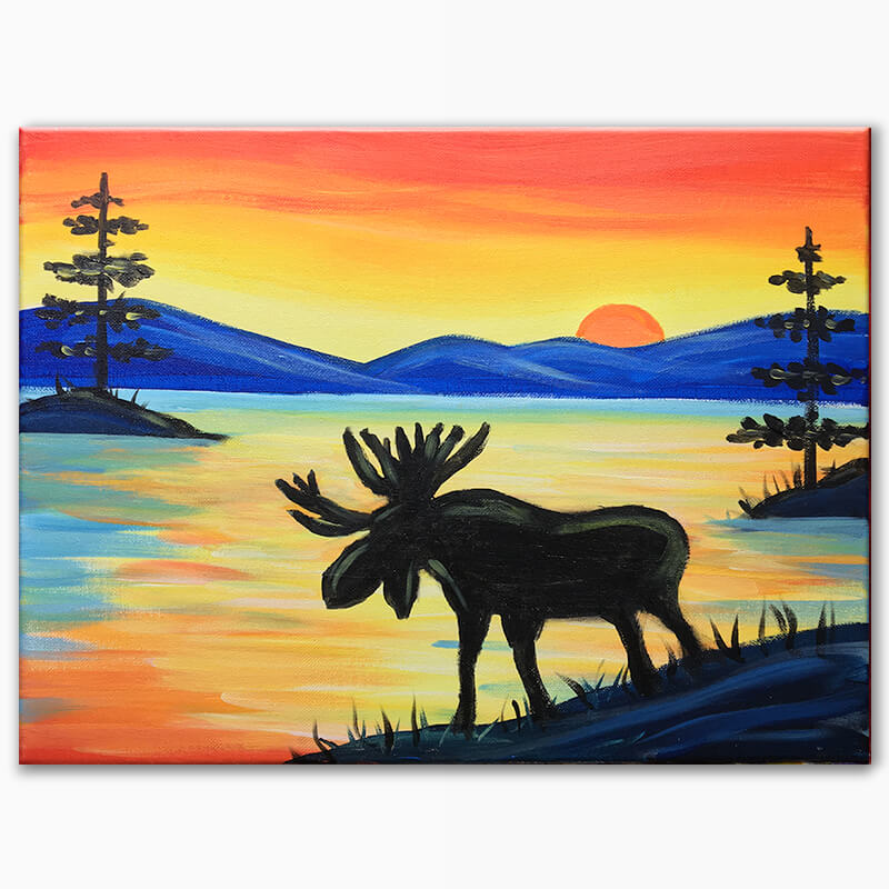 Wilderness Moose Virtual Painting Class