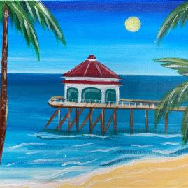 Huntington Beach Pier Acrylic Painting