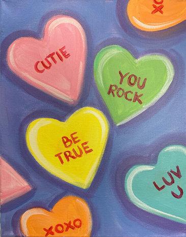 Valentines Hearts Acrylic Painting