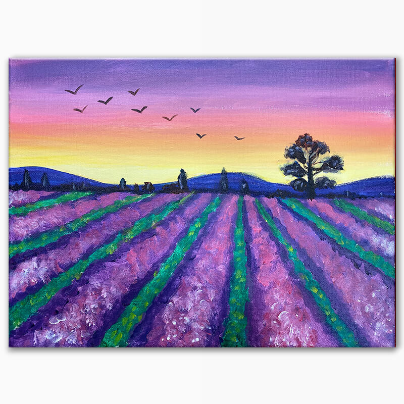 Lavender Fields Virtual Painting Class