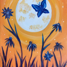 Moonlit Butterfly Acrylic on Canvas