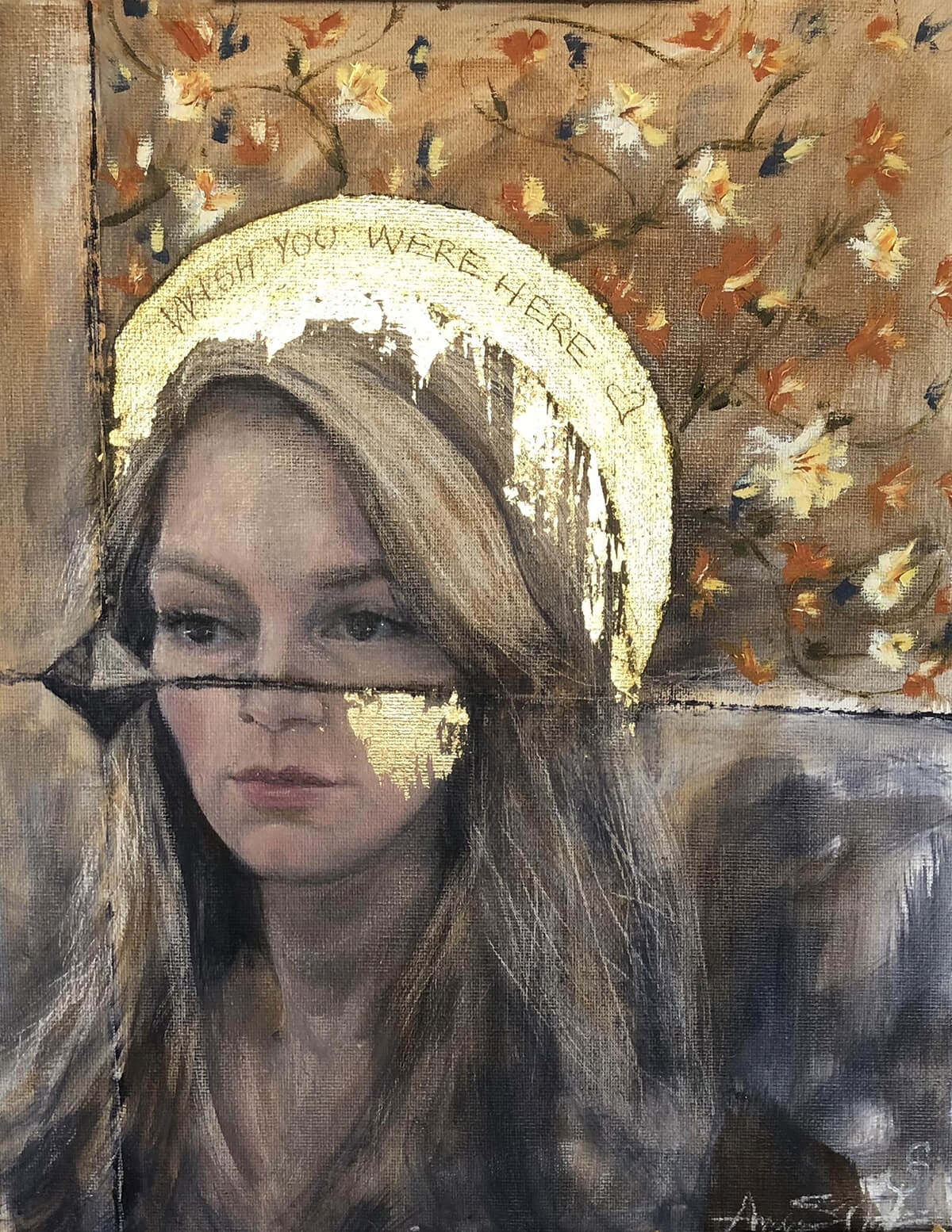 """Amrta Art (of Los Angeles, California) and sister Anna S. Nelson (Nashville, TN)""""Wish You Were Here""""Oil with Gold Leaf on Canvas"""