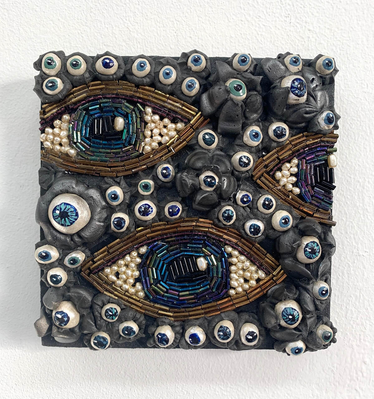 Seren Morey and Carri Skoczek, (of New York), The Eyes Have It, Beads, Ultralight acrylic, pigment dispersions and clay on panel