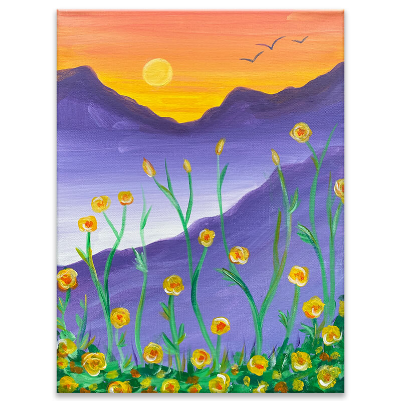 Wildflowers Acrylic Painting by The Paint Sesh