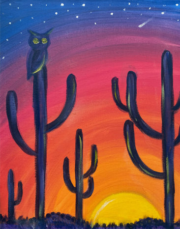 Desert Sunset Acrylic Painting by The Paint Sesh