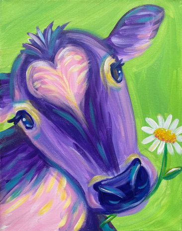 Pretty Cow Acrylic Painting by The Paint Sesh