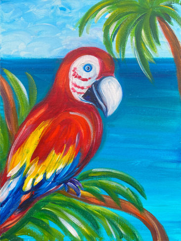 Scarlet Macaw Acrylic Painting by The Paint Sesh