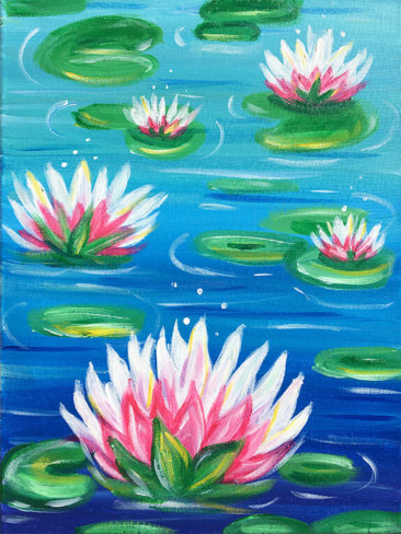 Lotus Pond Acrylic Painting by The Paint Sesh