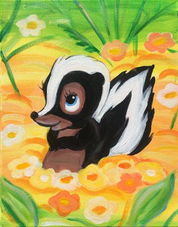 Spring Skunk Acrylic Painitng